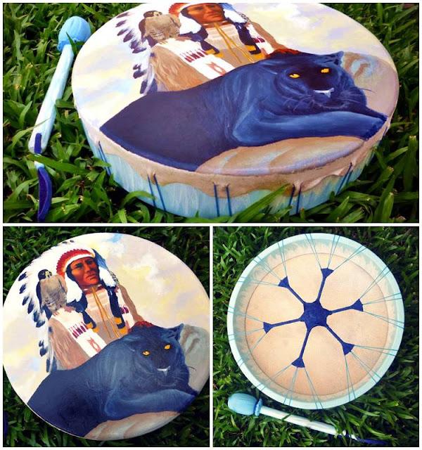 Artesãos Ou Artesaos ~ Wakan Wood Tambores Tambor Xam u00e2nico Wakan Wood modelo LAKOTA com a energia do Mestre Pena