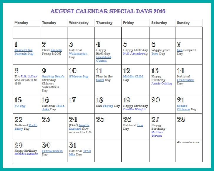 October 2017 Calendar Special Days