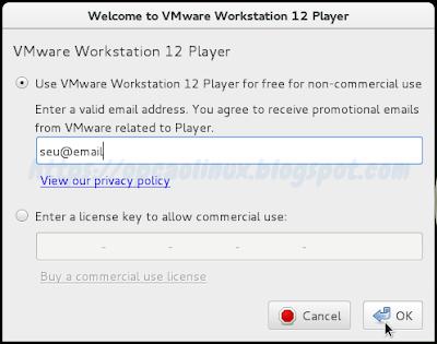 Insira seu e-mail ou o serial (caso tenha comprado) para usar o VMware Player