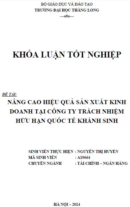 Nâng cao hiệu quả sản xuất kinh doanh tại Công ty TNHH Quốc tế Khánh Sinh