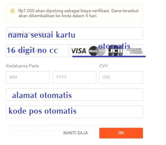 Cara mengisi data kartu kredit di shopee