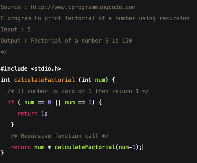 C Program to Print Factorial of a Number using Recursion