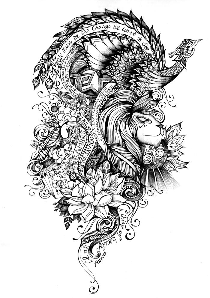 Tattoo Sleeve Design Artwork: Saroj Patel