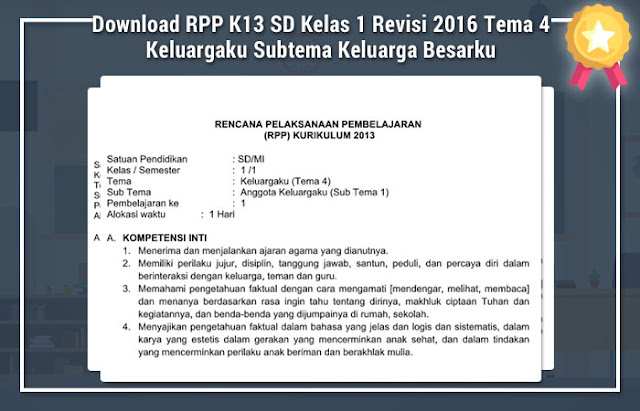 Download RPP K13 SD Kelas 1 Revisi 2016 Tema 4 Keluargaku Subtema Keluarga Besarku