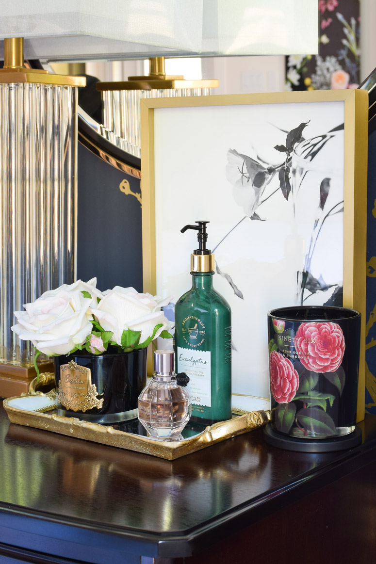 Nightstand styling ideas that are simple, glam and girly. I love how the lamp and artwork play off one another.