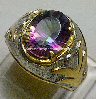 Cincin Batu Permata Rainbow Quartz