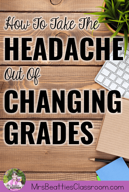 "School supplies on desk with text, ""How To Take The Headache Out Of Changing Grades."""