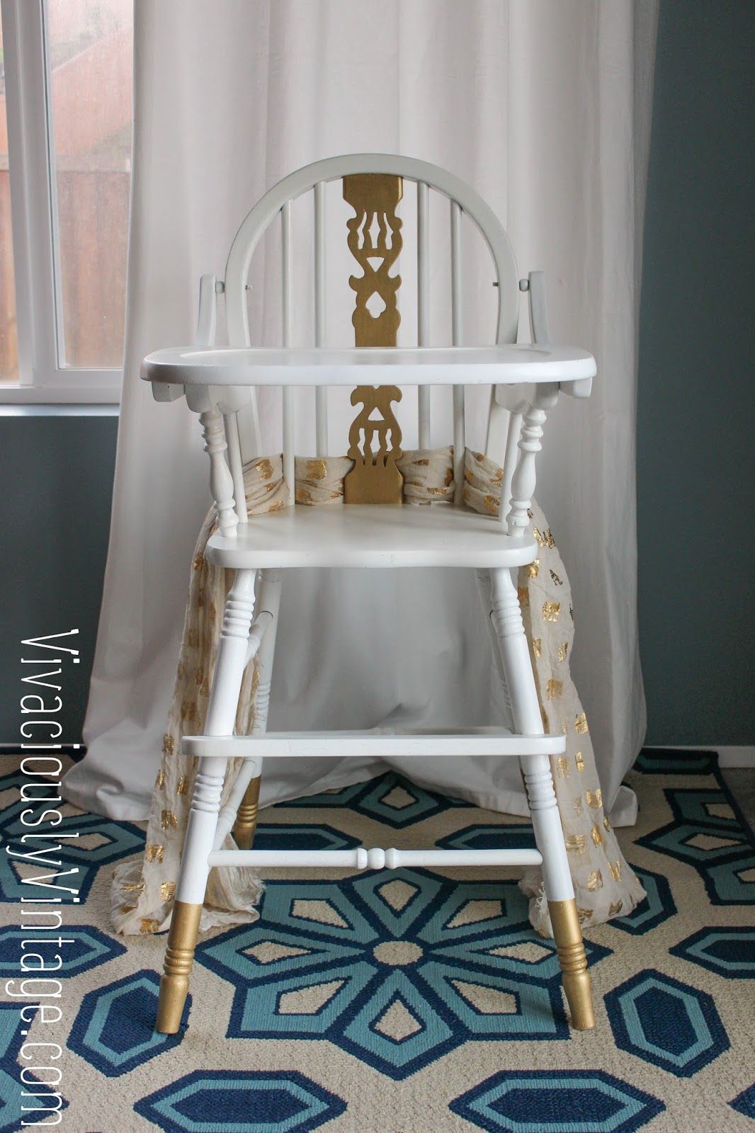 Painted wooden high chair - Gold And White Vintage Painted Wooden High Chair