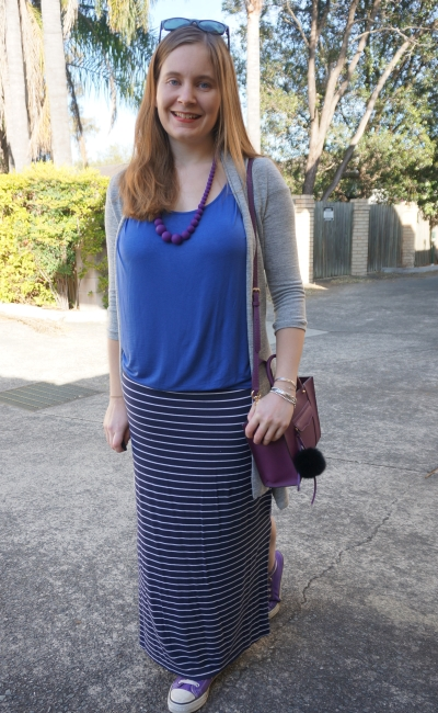 blue tee, navy maxi skirt, purple accessories and grey cardi with monochrome outfit | Away From Blue