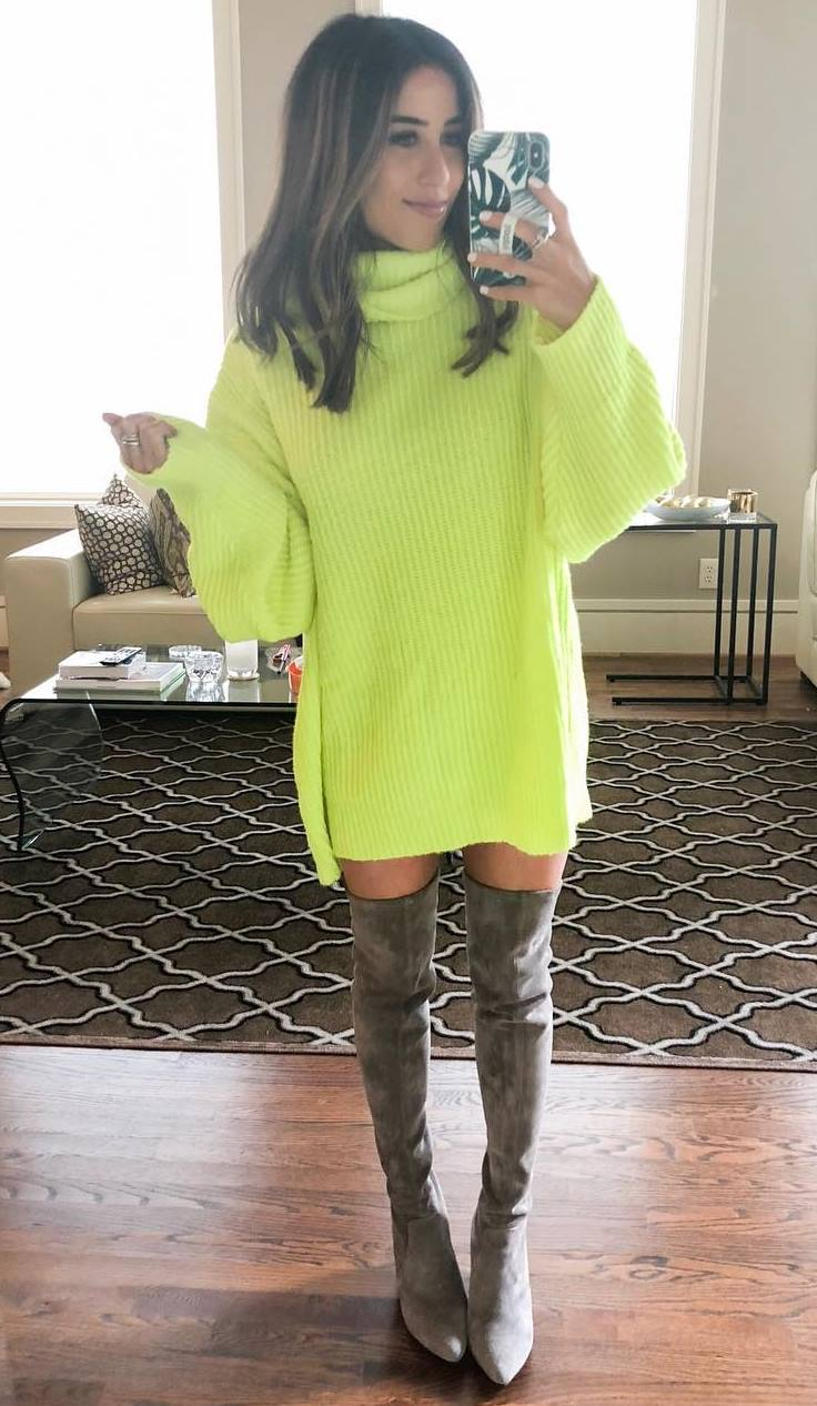 incredible fall outfit / yellow sweater dress and grey over knee boots