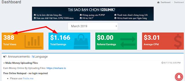 Kiếm tiền với rút gọn link 123link BEST URL SHORTENER TO EARN MONEY 2019