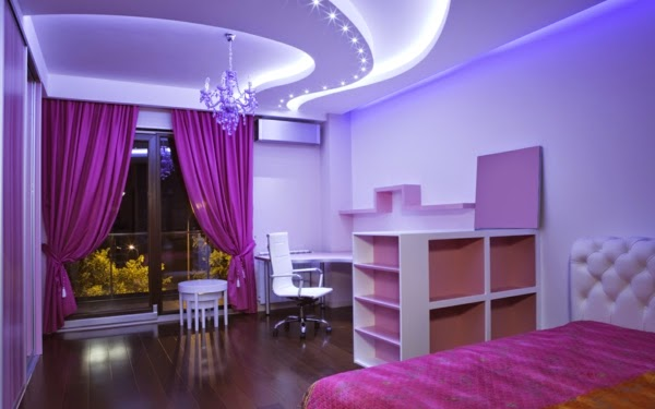 Purple Bedroom Curtains In Modern Interior