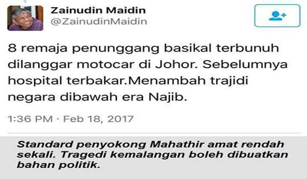 Standard Macai Mahathir - Tragedi Kemalangan Di Jadikan Bahan Politik Kebencian