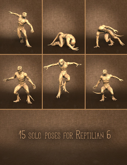 Combat Poses for Minotaur 6 and Reptilian 6
