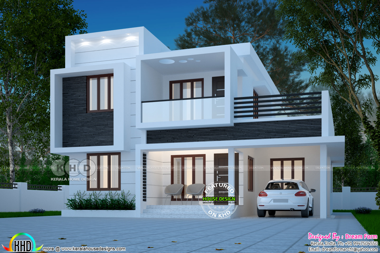 1873 Square Feet Box Model House Design Kerala Home Design