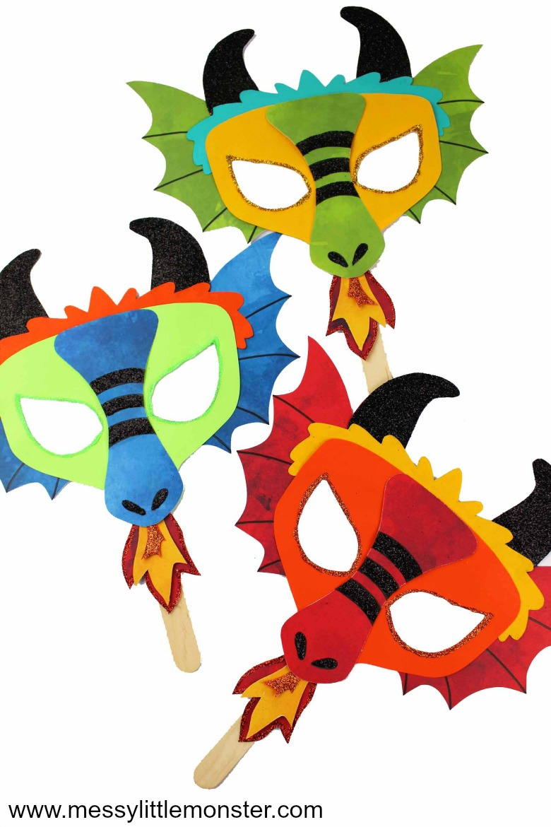 Dragon mask. An easy dragon craft with free printable dragon mask template. A fun Chinese New Year activity for kids.