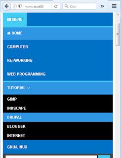 Warna sub menu ketika layar di perkecil