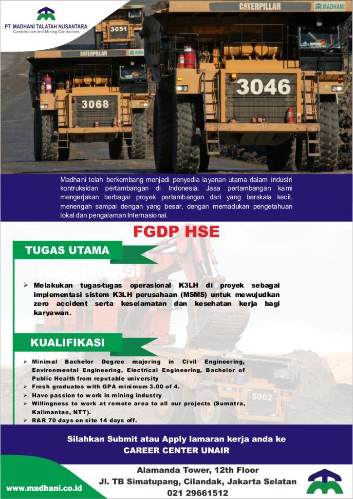 Lowongan Kerja di Industri Konstruksi dan Pertambangan PT. Madhani Talatah Nusantara Terbaru