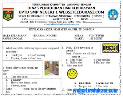 Soal PAS/ UAS Bahasa Inggris Kelas 7 K13 Tahun 2018/2019