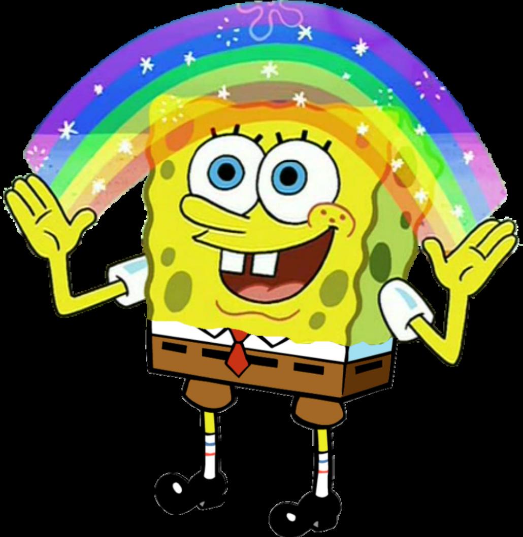 Картинки губки боба с радугой
