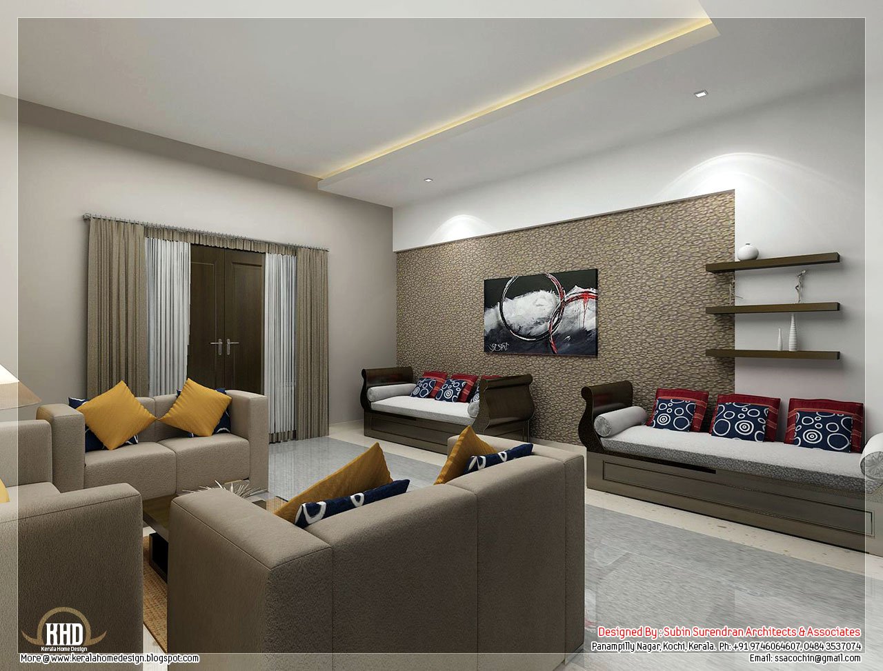 Awesome 3d interior renderings kerala home design and - Pictures of interior design living rooms ...