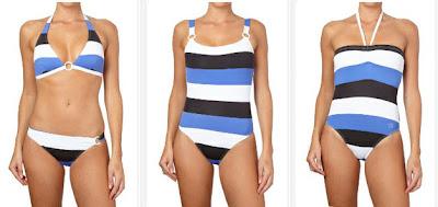Biquini azul, blanco y negro, también bañadores