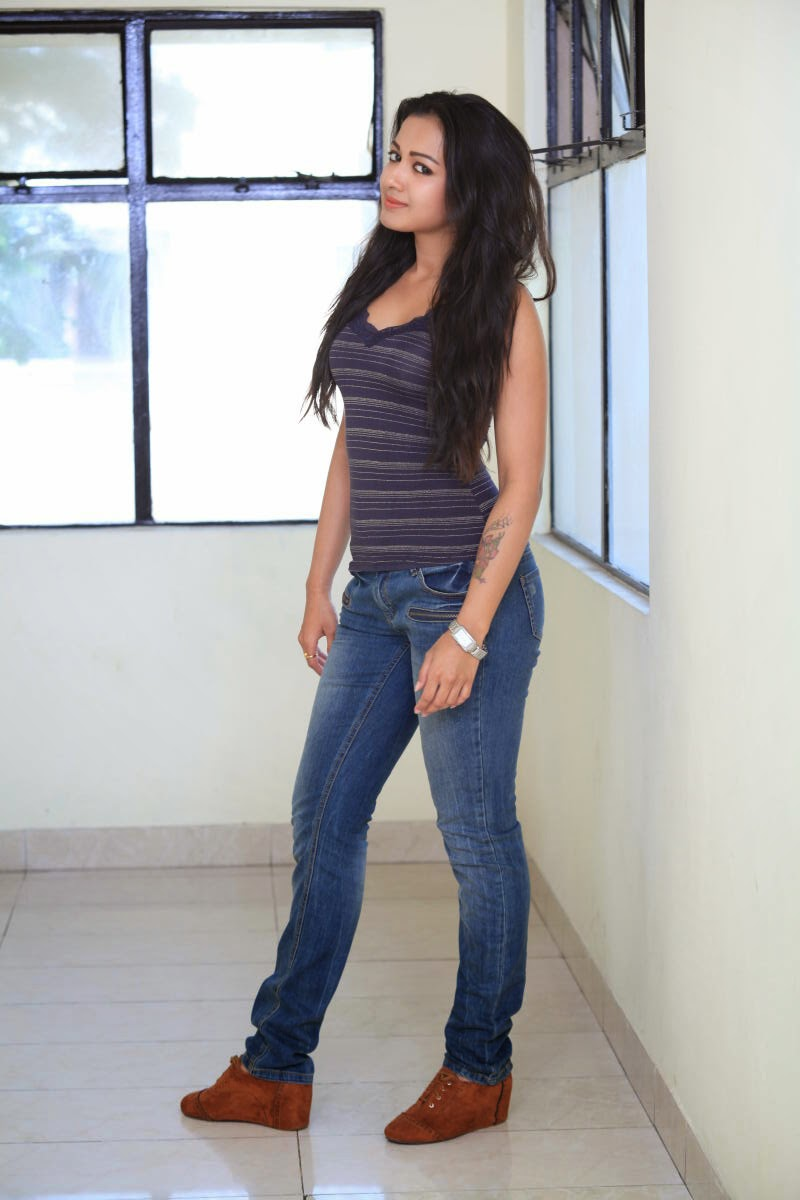 Catherine Tresa Latest Photo Shoot In Blue Top Jeans