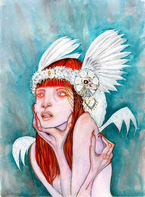 Whoopidooings Blog: Carmen Wing - Watercolour mixed media fantasy portrait - The Silver Crow Project