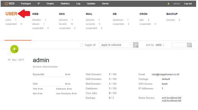 User VestaCP Main Dashboard