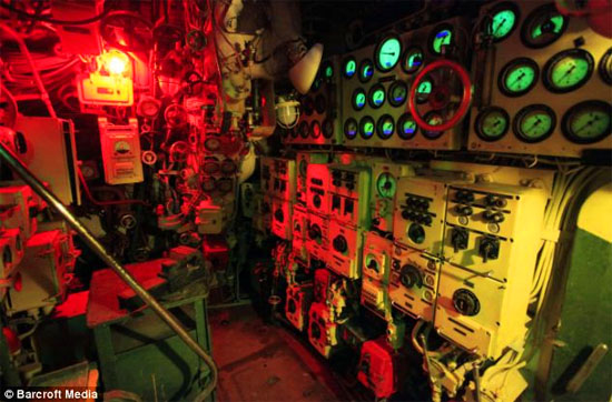 Inside submarine red lights