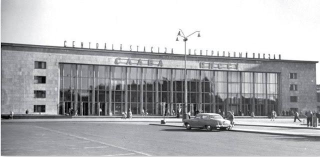 1960 год. Рига. Фасад нового здания Центрального пассажирского ж/д вокзала.