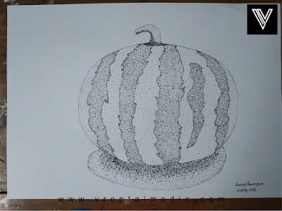 contoh gambar pointilis semangka