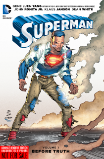 Book cover, 'Superman: Before Truth.' The character of Superman stands in defensive stance. He wears the smoldering ruins of a white button-up shirt and brown slacks over his blue-and-red Superman costume.