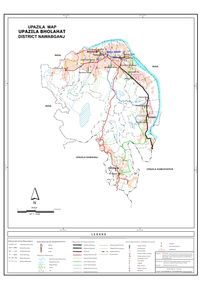 Bholahat Upazila Map Nawabganj District Bangladesh