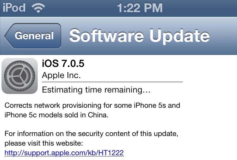 iOS 7.0.5 Update Download