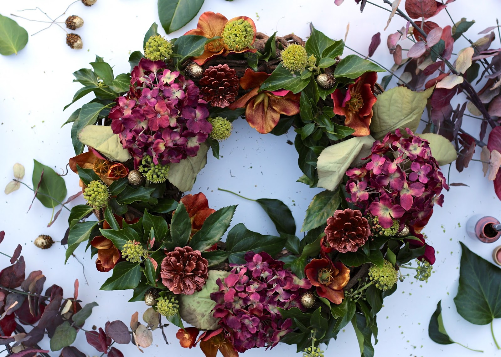 Flamboyant and stylish DIY Autumn Wreath by UK lifestyle blogger