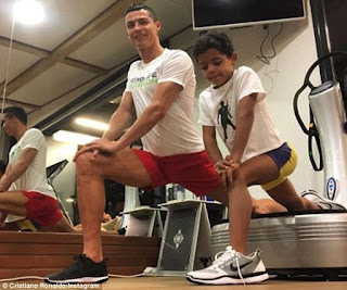 Cristiano Ronaldo Hits The Gym With His Son Ahead Of Saturday's Derby (See Photos)