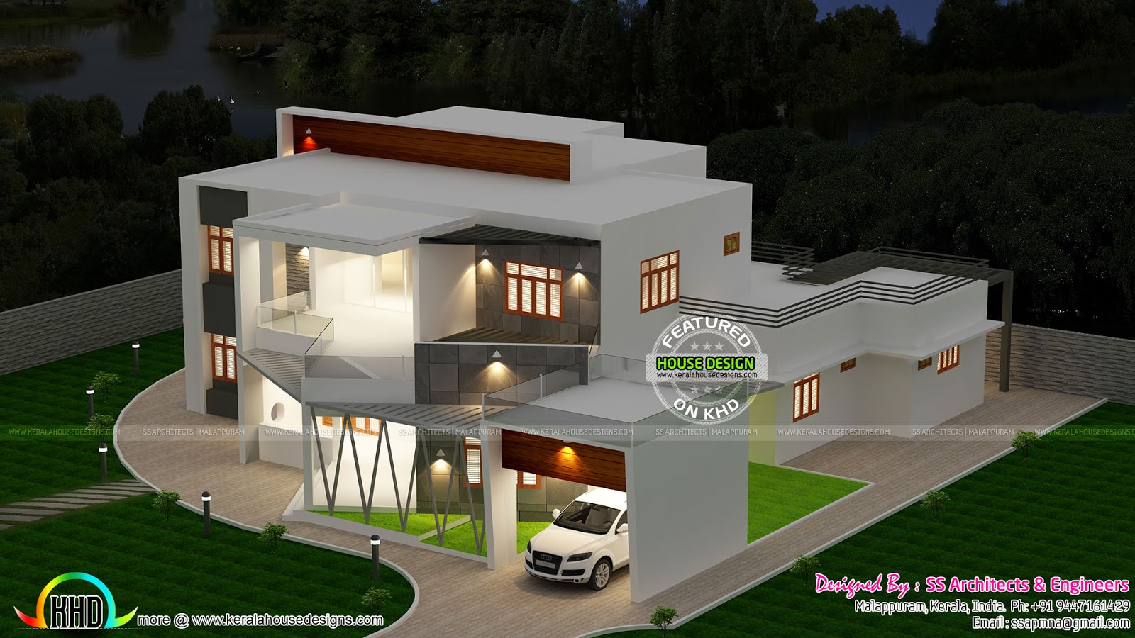 Beautiful top view of contemporary house kerala home for Modern house view