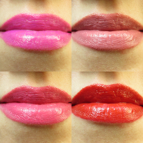 NYX Butter Lipsticks Swatches - Razzle Fiesta, Pops Explosif, Sweet Tart, Mary Janes