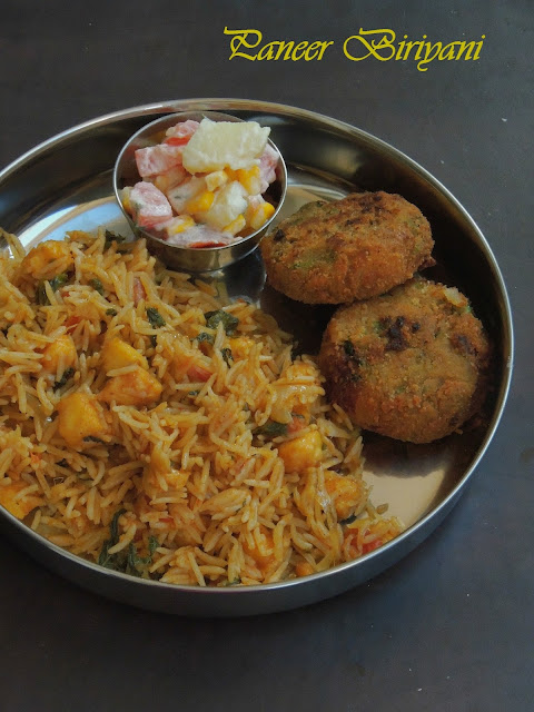 Paneer Biryani, Indian cheese Biriyani