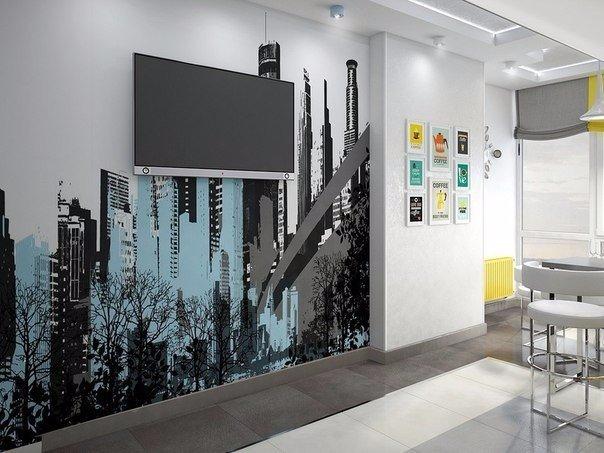 дизайн стены с телевизором кухне