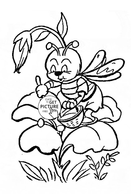 Cute Little Bee Pollinating Flower Coloring Page For Kids Flower  Coloring Pages Printables Free