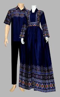 Model Baju Gamis Batik Katun D1925 biru