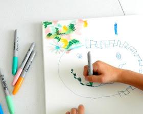 kids sharpie art on canvas