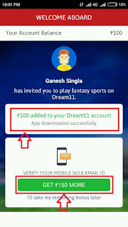 Dream11 - Free 250 cash on signup