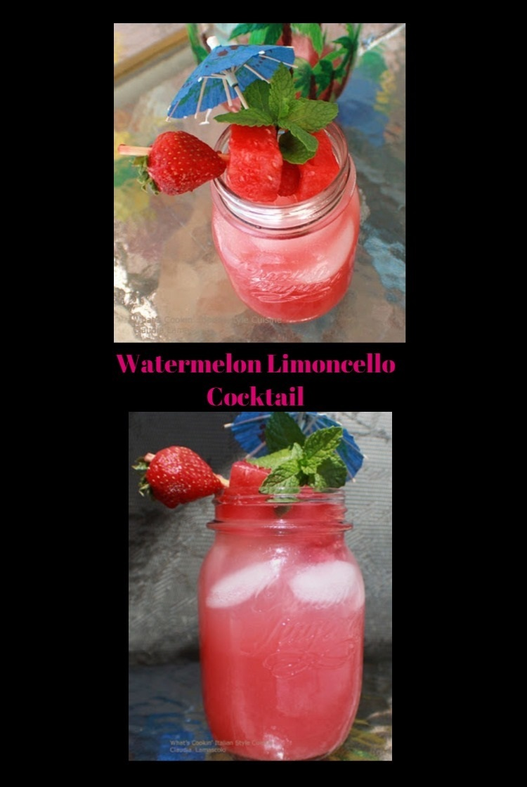 watermelon and limoncello in a mason jar with strawberries and watermelon on a toothpick cocktail with mint