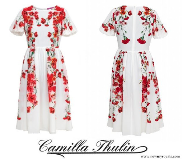 Crown Princess Victoria wore CAMILLA THULIN Alvine Rose White Dress