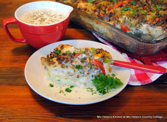 Sausage and Biscuit Breakfast Casserole With Pepper Gravy