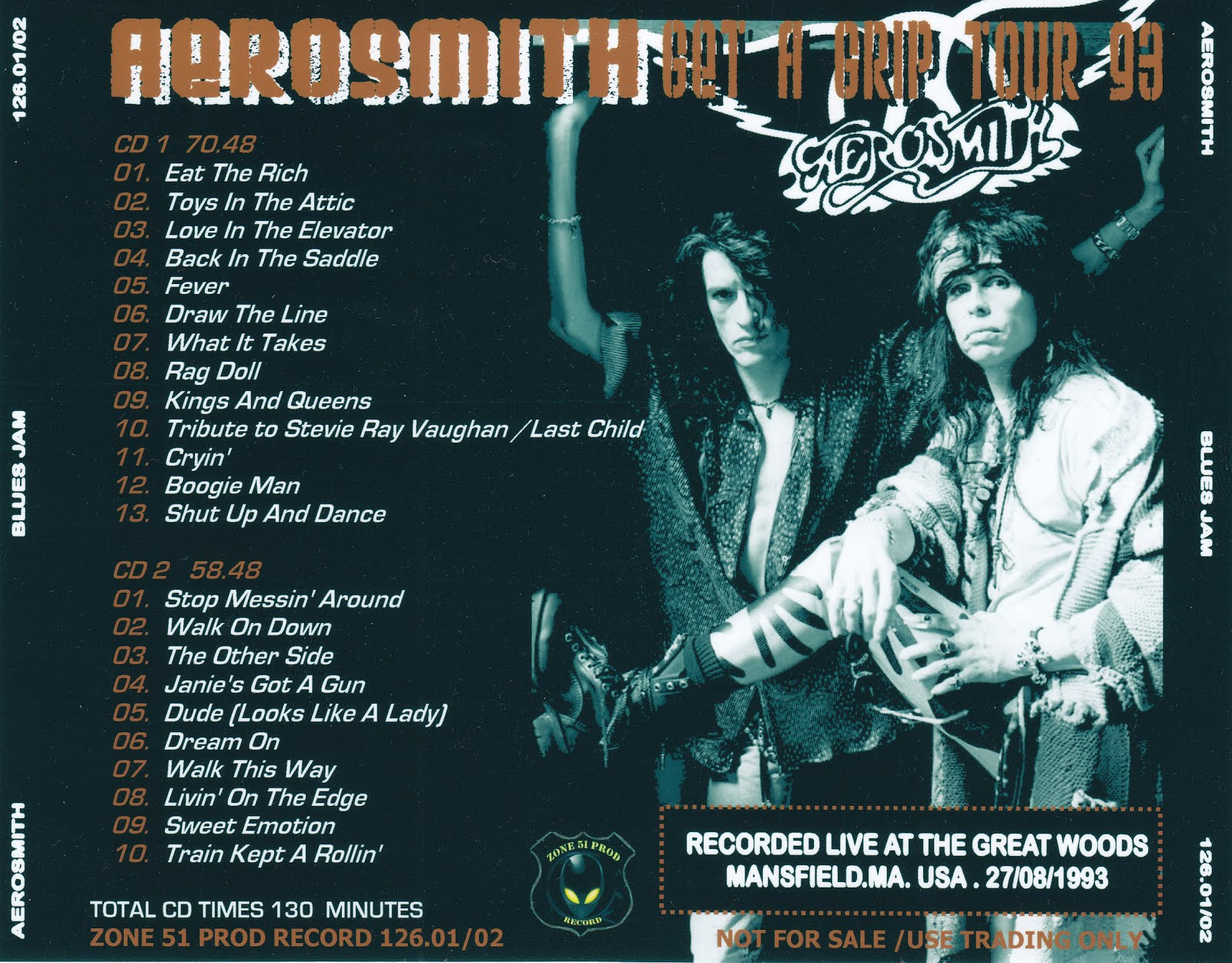 Aerosmith Bootlegs Cover Arts Blues Jam Mansfield 1993