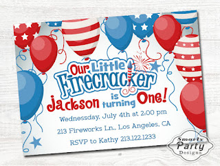 Little Firecracker 4th Of July 1st Birthday Invitations
